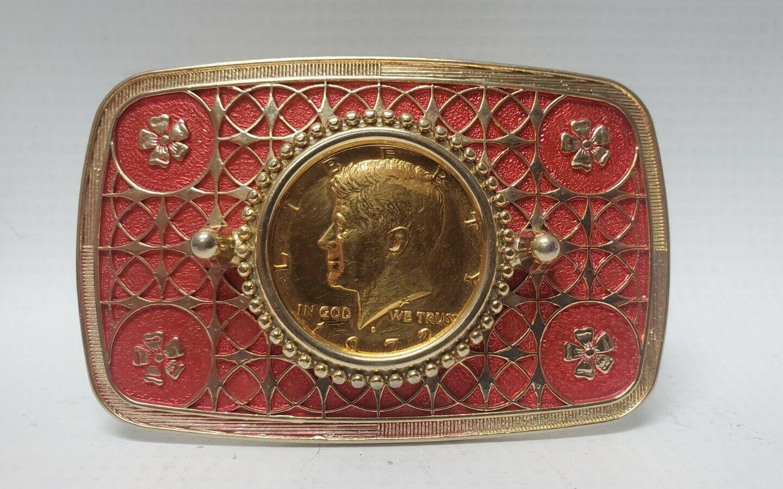 Goldtone & Pink/Red Belt Buckle 1972 Kennedy JFK Half Dollar Coin EX Cond
