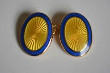 Aspinal silver gilt  Faberge yellow/gold with a blue border cufflinks