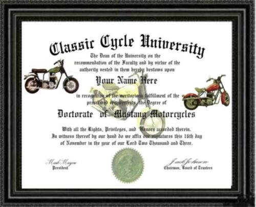 Degree Custom made /& Designed for U Mustang Motorcycle Lover Doctorate Diploma