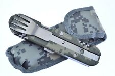 DigiCam Hobo Eating Camping Tool Fork, Spoon & Pocket Knife & Case FAST SHIPPING