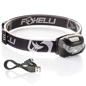 Foxelli USB Rechargeable Headlamp Flashlight 160 Lumen Headlight Camping Running