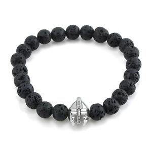 Black-Lava-Rock-Stone-Beaded-Bracelet-Charm-Spartan-Helmet-Bracelet-For-Men