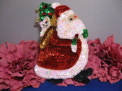 CHRISTMAS SANTA CLAUS SEQUIN BEADED APPLIQUE 2361-K