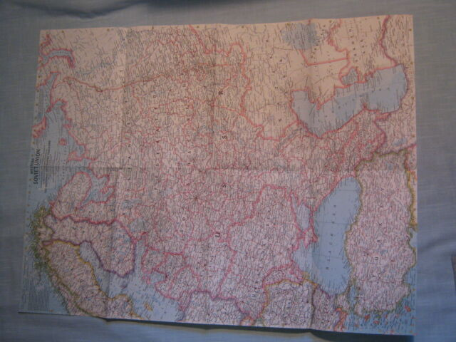 VINTAGE WESTERN SOVIET UNION WALL MAP National Geographic September 1959 MINT