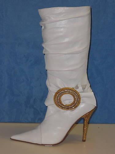 3982 botas mujer zapatos STIVALETTI PELLE BIANCO SEXY 39