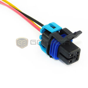 connector for fuel pump 4 way female wiring harness gm chevrolet rh ebay com GM Electrical Connectors GM Wiring Harness Adapter