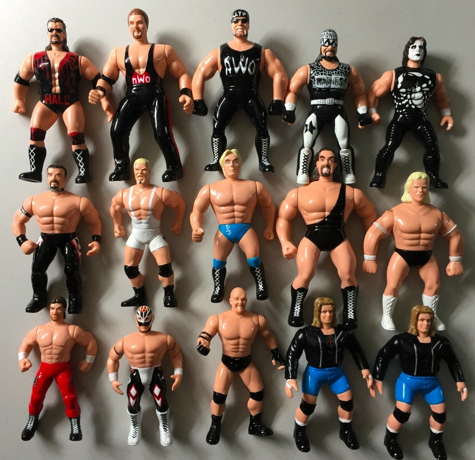 15 WCW Wrestling Figures HALL NASH HOGAN SAVAGE STING FLAIR goldBERG NWO WWF WWE