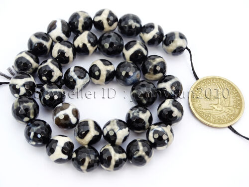 Tibetan Agate Gemstone Faceted Round Loose Beads 15/'/' 6mm 8mm 10mm 12mm 14mm