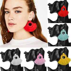 Fashion-Women-Bohemian-Dangle-Long-Tassel-Thread-Drop-Ear-Stud-Earrings-Jewelry