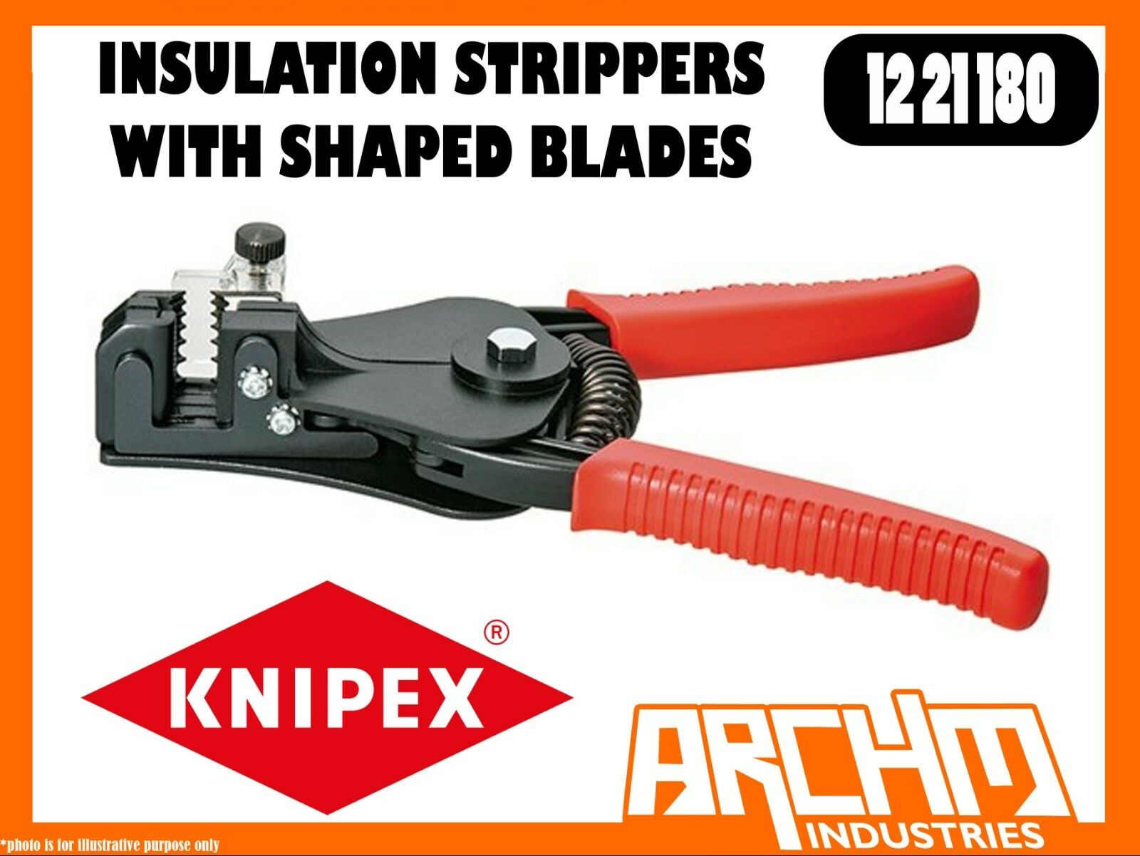 KNIPEX 1221180 - INSULATION STRIPPERS WITH SHAPED BLADES - 180MM - WIRES CABLES