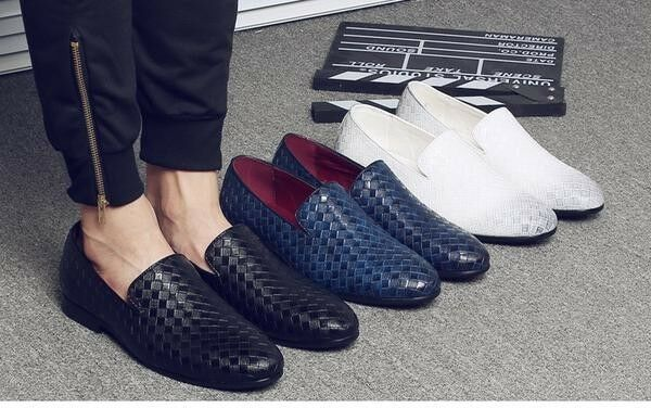 Merkmak 2018 Men shoes luxury Brand Braid Leather Casual Driving Oxfords shoes