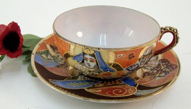 Teetasse Sammeltasse feines Japanisches Porzellan Geisha Motiv Kopf 2 tlg.