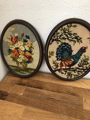 2 Handgesticktes Bilder Mit Rahmen Oval Hahn Blumen