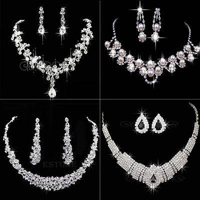 Fashion Prom Wedding Bridal Jewelry Crystal Rhinestone Necklace Earring Sets