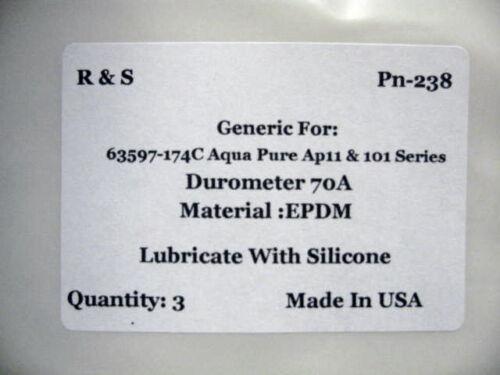 EPDM Mat. Ap11 /& 101 Series// R/&S 238 3 Aqua-Pure O-Rings 63597-174C