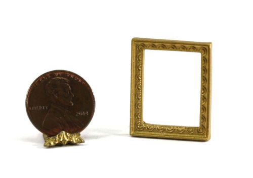 Dollhouse Miniature Small Rectangular Gold Picture Frame with Scallop Design