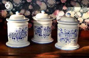 Tris Barattoli Da Cucina In Ceramica Dipinta A Mano 100 Made In Italy Ebay