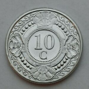 Netherlands-Antilles-10-Cents-1989-KM-34-Dime-Coin-Beatrix-First-year-issue
