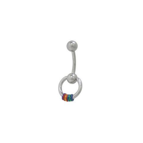 Door Knocker Belly Ring with Rainbow Hoops Navel Barbell