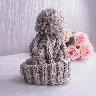 New Unisex Women Men Ball Winter Crochet Cap Warm Knit Ski Beanie Wool Baggy Hat