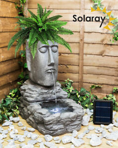 Easter Island Water Feature Planter Solar Powered Plant Head