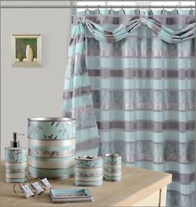 Image Is Loading 8Pcs Venezia Aqua High Quality Scarf Shower Curtain