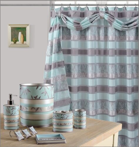 8Pcs Venezia Aqua High Quality Scarf shower Curtain set + Bath Window Curtain