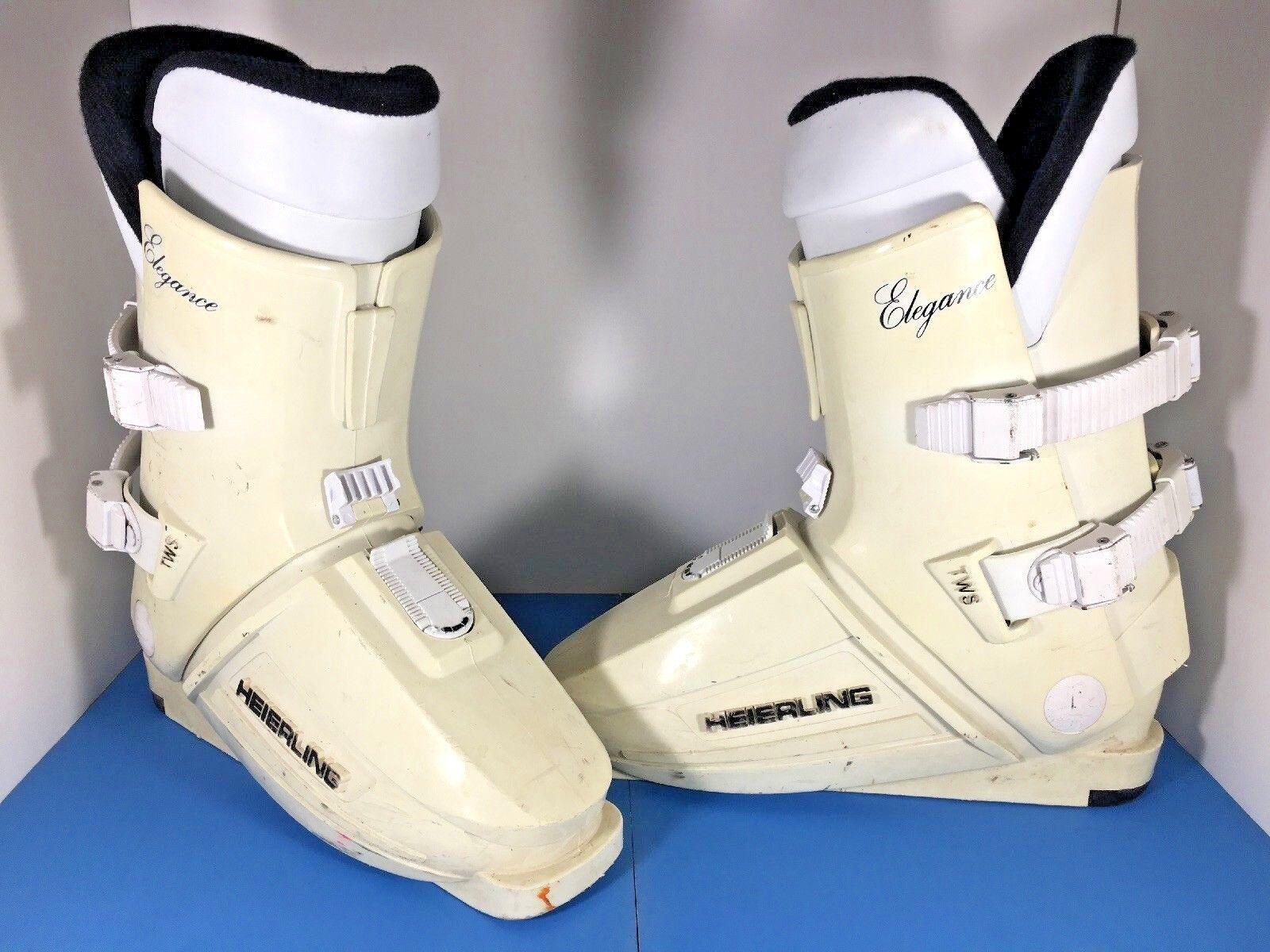 Vintage 80s Heierling Ski Boots Mens Size 8-1 2  White Elegance Winter