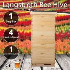 Bee Hive 10 Frame 5 Box Beekeeping Kit Honey Beehive Metal Roof W Queen Excluder