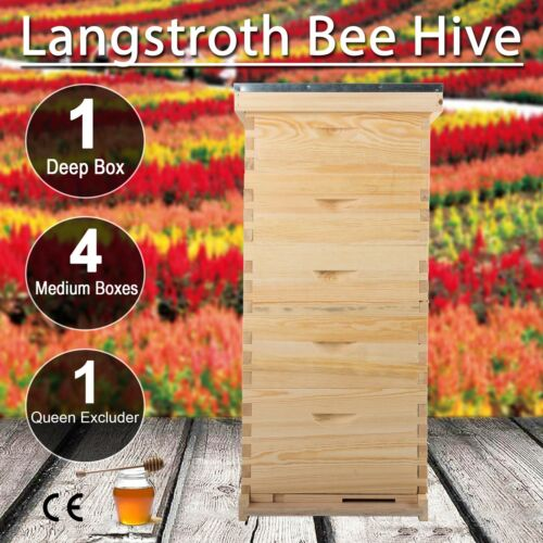 Beehive Hive Bee Hive Frames 10-Frame 4 Medium Box 1 Deep Box W// Queen Excluder