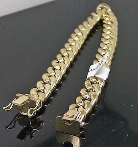 """10k Or Jaune Miami Cubain Hommes Bracelet 9 """" Pouce 9mm Boîte Fermoire Vrai"""