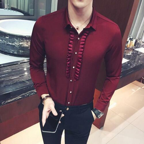 Men/'s Ruffle Dress Shirt Long Sleeve Button Down Slim fit Fitted Blouse Tops