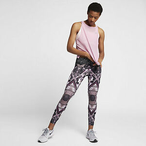 Nike-Epic-Lux-2-0-Women-039-s-Printed-7-8-Running-Tights-S-Pink-Purple-Tint-Gym-New