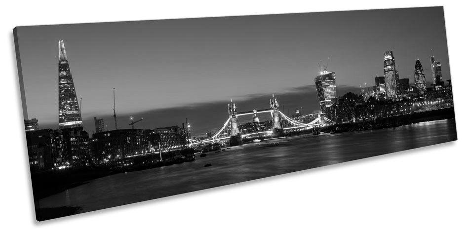 City City City di Londra Tower Bridge SKYLINE B&W CANVAS Wall Art Panorama incorniciato stampa 5d1514