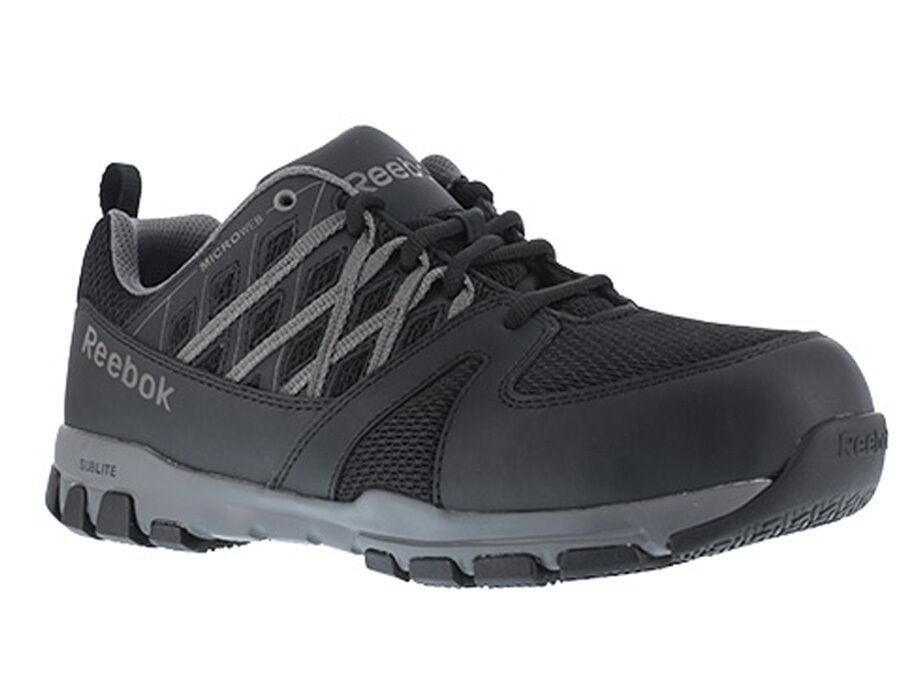 Reebok RB4016 Sublite Work Men's Black Micro Web Oxford / Athletic / Steel Toe~