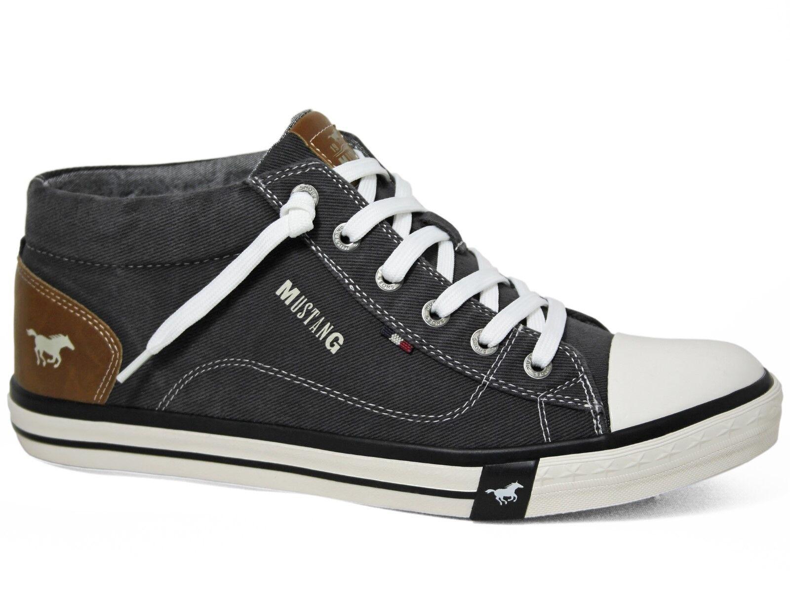 Mustang Herren Mid Slip-On Booty Canvas Sneakers Schwarz Black 4072-505-9 Schuh