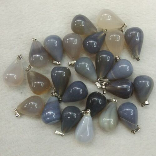 50pcs//lot wholesale assorted mixed natural stone water drop pendants Charms fit