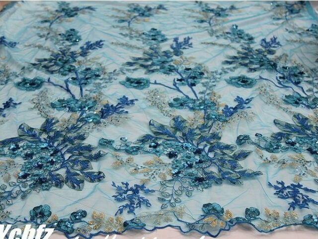 "Delicate Sky Blue Shining Embroidery Sequins Lace Gauze Dress Fabric 51"" Wide/Yd"