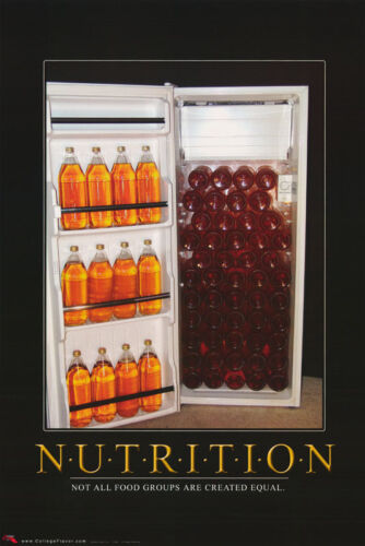 FREE SHIPPING POSTER :COMICAL : BEER LW6 M NUTRITION NOT ALL FOOD GROUPS