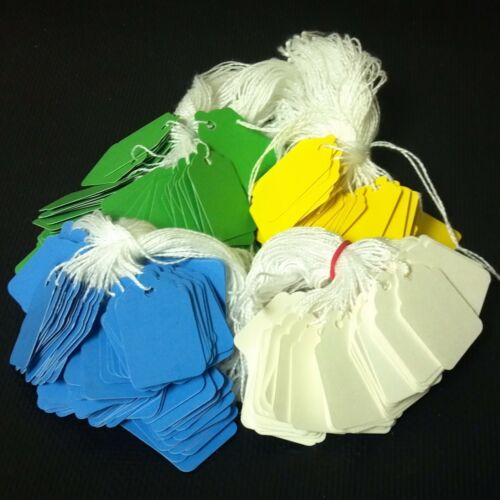 green string tags price tags 4 colors white 1000 pre-strung tags yellow blue