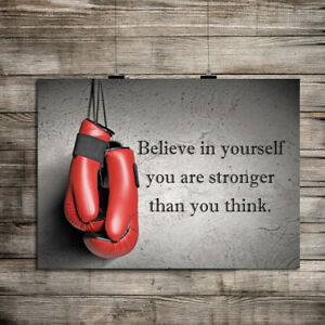 INSPIRATIONAL MOTIVATIONAL BOXING GLOVES BELIEVE QUOTE GYM WORKOUT FITNESS PRINT