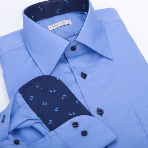 Men/'s dress shirts solid light blue Dolphins theme100/% cotton Easy care