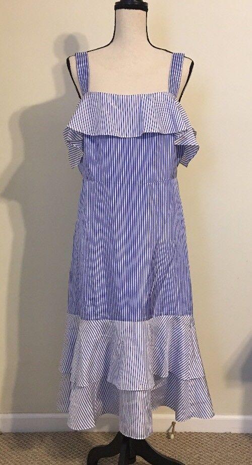 NEW JCREW  Collection Striped cold-shoulder silk dress Sz16 G6263 True Blau