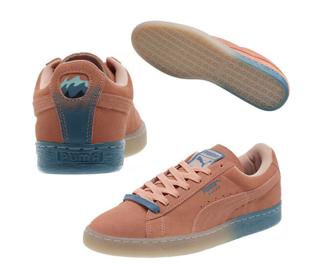 PUMA X Pink Dolphin Suede Classic Coral pink Blue Mens Trainers 362216 02 B27A