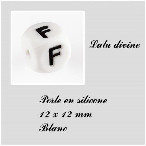 Blanc Perle en silicone alphabétique de 12 x 12 mm Lettre F Lot de 3 perles