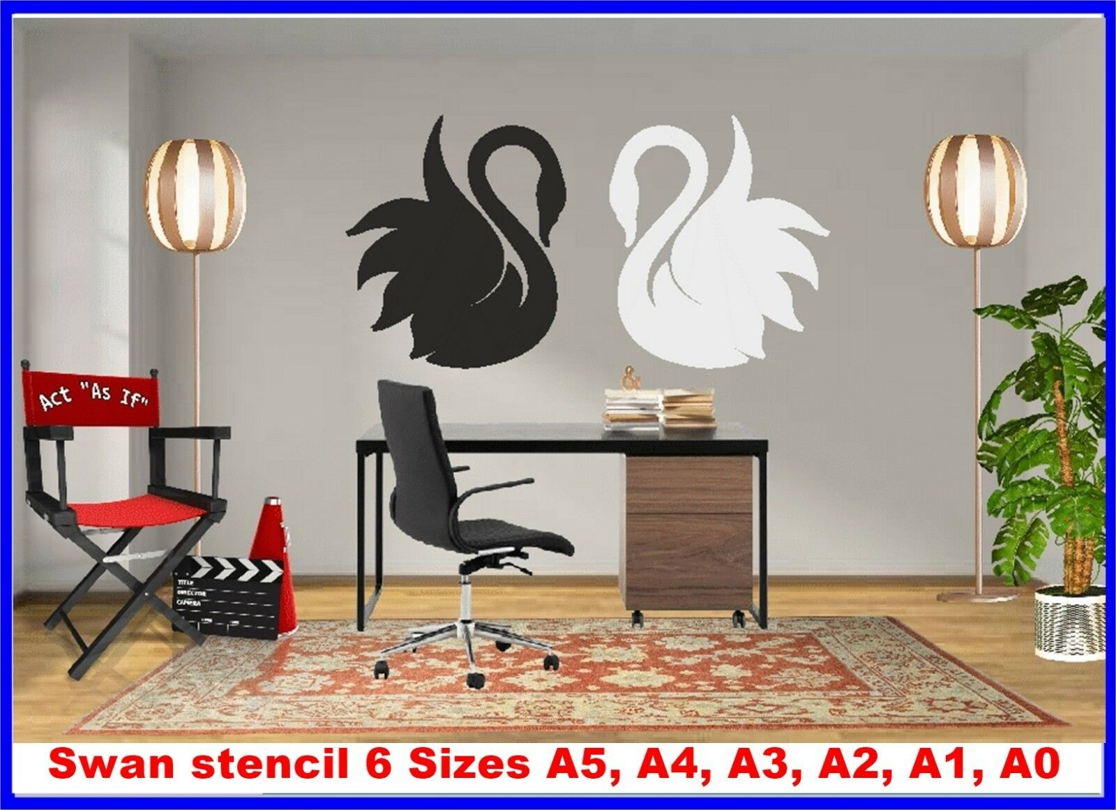 Swan Reusable Stencil 6 Größes A5 to A0 350 micron Mylar not thin stuff SWAN01