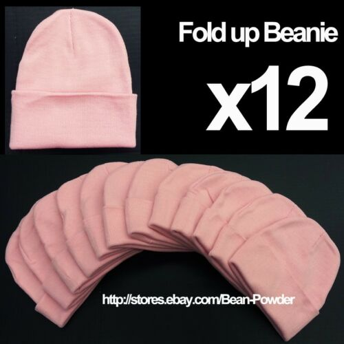 **BABY PINK** WHOLESALE LOT OF 12 PLAIN BLANK LONG FOLD UP BEANIE HATS