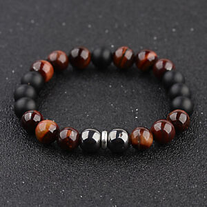 Douvei-10mm-Tigers-Eye-Hematite-Onyx-Gemstone-Beaded-Men-039-s-Bracelet-Jewelry-Gift