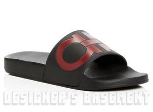 0c86059b6e34cd SALVATORE FERRAGAMO mens 7M black   red GROOVE slides FLIP-FLOPS ...