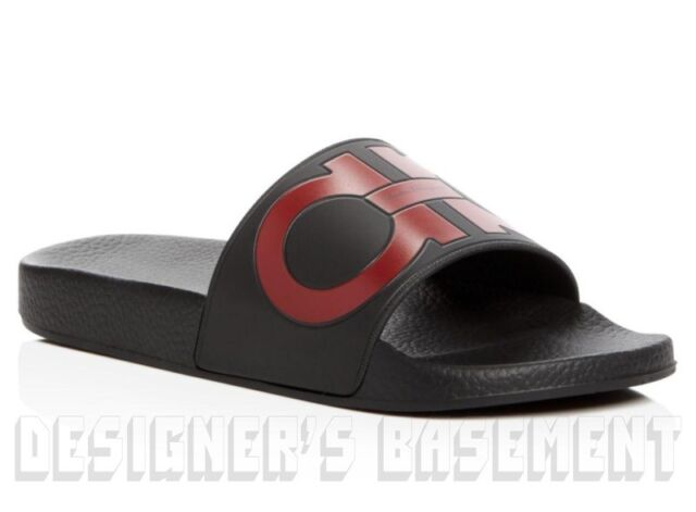 90317cb20 SALVATORE FERRAGAMO mens 7M black   red GROOVE slides FLIP-FLOPS shoes NIB  Auth